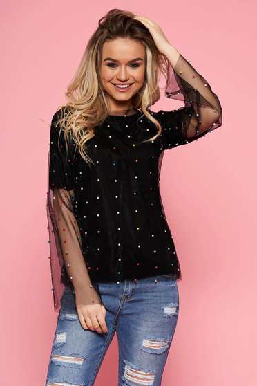 SunShine black casual flared women`s blouse from tulle with inside lining with small beads embellished details