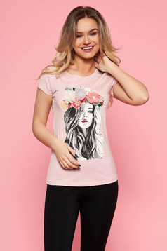 SunShine rosa t-shirt casual slightly elastic cotton with tented cut with floral details with 3d effect