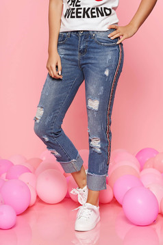 SunShine blue jeans casual skinny jeans with medium waist with ruptures slightly elastic cotton