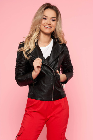 SunShine black casual jacket from ecological leather with inside lining with zipper details pockets