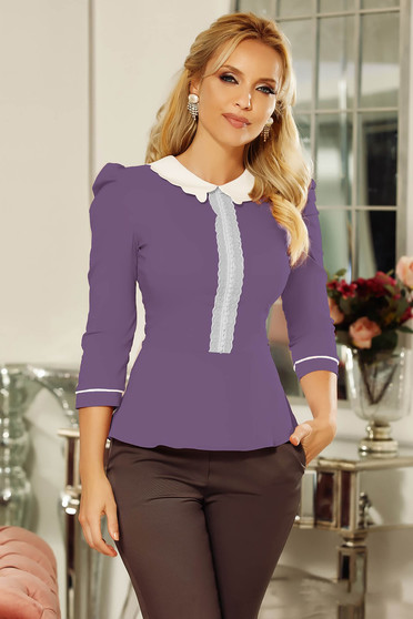 Fofy purple office women`s shirt with tented cut slightly elastic cotton with lace details with pearls