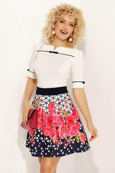 Fofy pink office cloche skirt from elastic and fine fabric high waisted with floral prints