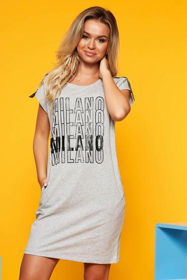 SunShine grey casual flared dress slightly elastic cotton with writing print
