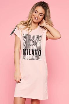 SunShine rosa casual flared dress slightly elastic cotton with writing print