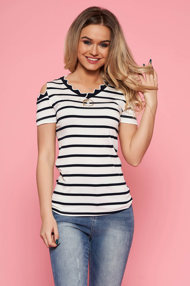 SunShine white women`s blouse casual with tented cut slightly elastic fabric with stripes both shoulders cut out