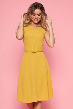 SunShine mustard daily dress from elastic fabric sleeveless flaring cut accessorized with belt