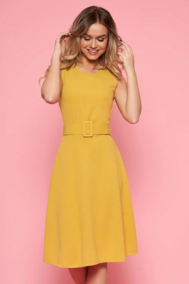 SunShine mustard daily dress from elastic fabric sleeveless flaring cut accessorized with belt