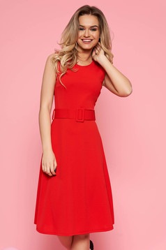 SunShine red daily dress from elastic fabric sleeveless flaring cut accessorized with belt