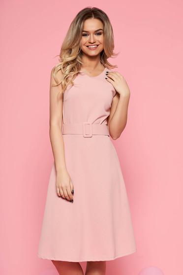 SunShine rosa daily dress from elastic fabric sleeveless flaring cut accessorized with belt
