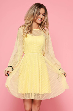 SunShine yellow casual cloche dress from tulle with inside lining with push-up cups