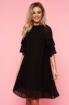 SunShine black dress casual flared from veil fabric folded up with inside lining with ruffled sleeves