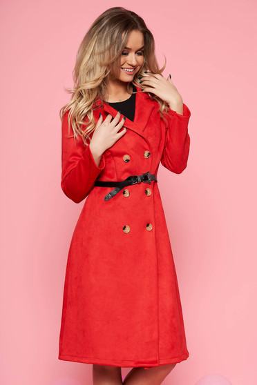 SunShine red daily cloche dress from velvet fabric accessorized with belt