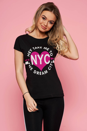 SunShine black t-shirt with writing print with tented cut slightly elastic cotton