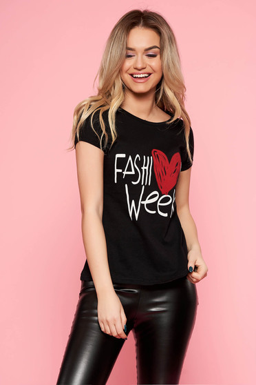 SunShine black t-shirt casual slightly elastic cotton tented with writing print