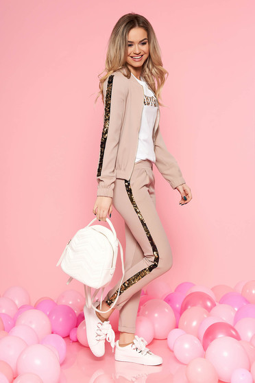 SunShine brown casual set with sequin embellished details with pockets