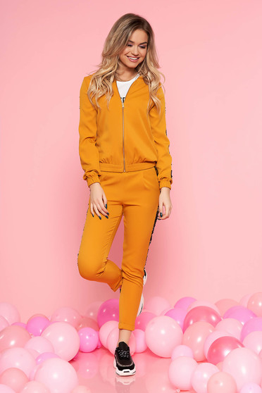 SunShine mustard casual set with sequin embellished details with pockets