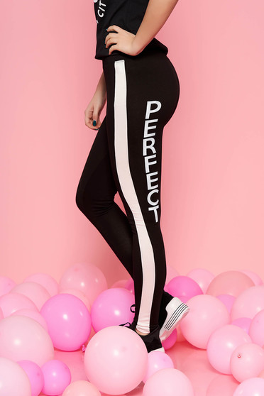 SunShine black casual sporty tights with medium waist slightly elastic cotton with tented cut