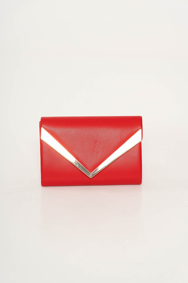 Red clutch bag from ecological leather long chain handle with metalic accessory