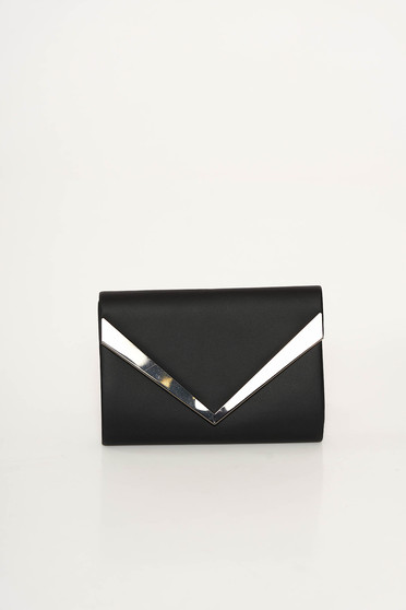 Black clutch bag from ecological leather long chain handle with metalic accessory