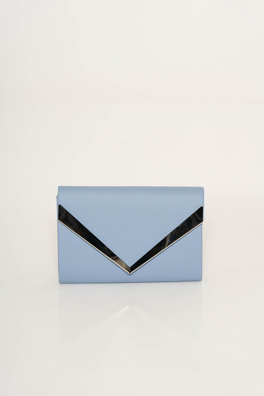 Lightblue clutch bag from ecological leather long chain handle with metalic accessory