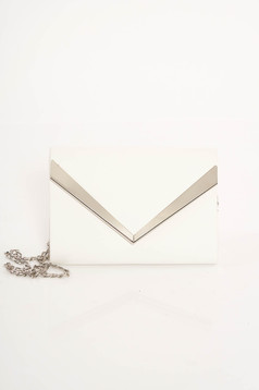 White clutch bag from ecological leather long chain handle with metalic accessory