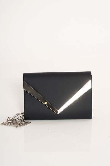 Darkblue clutch bag from ecological leather long chain handle with metalic accessory