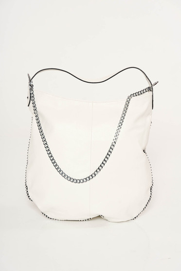 White casual bag from ecological leather metallic chain accessory