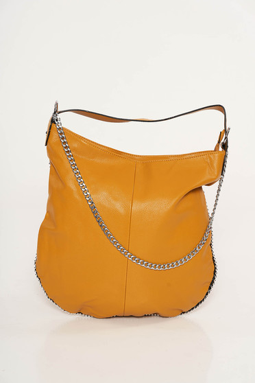 Mustard casual bag from ecological leather metallic chain accessory