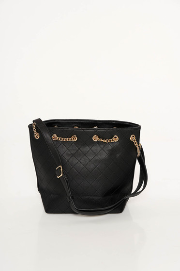 Black casual bag from ecological leather metallic chain accessory