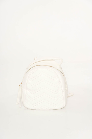 White casual backpacks from ecological leather with tassels