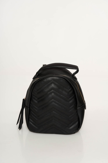 Black casual backpacks from ecological leather with tassels