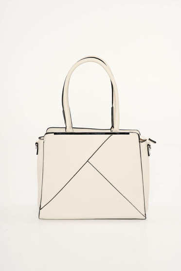 Cream office bag from ecological leather short handles