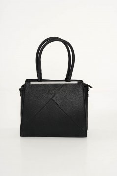 Black office bag from ecological leather short handles