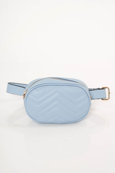 Lightblue casual bag from ecological leather accessorized with belt
