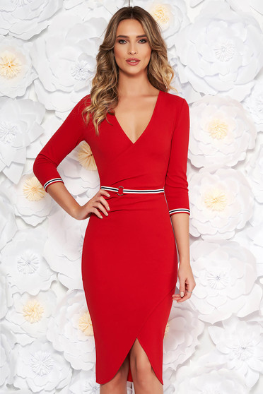 StarShinerS red daily midi dress with a cleavage 3/4 sleeve with tented cut