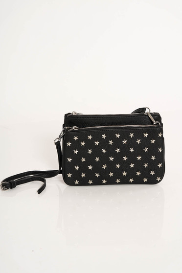 Top Secret black casual bag ecological leather with metallic spikes