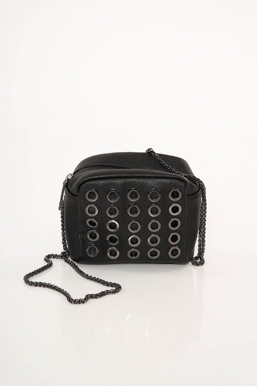 Top Secret black ecological leather bag metallic details long chain handle