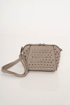 Top Secret grey casual bag long, adjustable handle with metallic spikes
