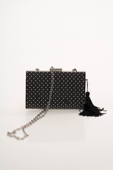 Black clubbing bag long chain handle with tassels