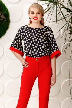 PrettyGirl darkblue elegant flared women`s blouse bell sleeves from satin fabric texture dots print