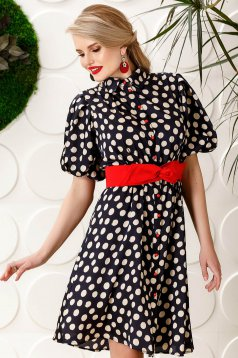 PrettyGirl darkblue dress elegant daily cloche from satin fabric texture dots print accessorized with tied waistband