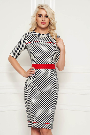 Fofy red office pencil dress slightly elastic fabric accessorized with tied waistband with dots print