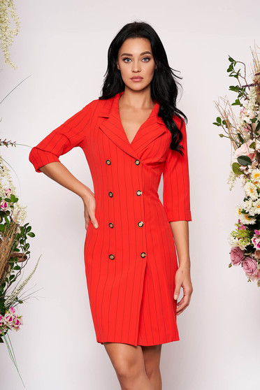 Fofy red short cut elegant office dress blazer type slightly elastic fabric with v-neckline
