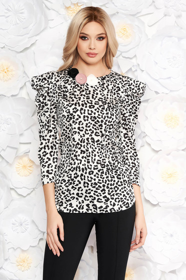 LaDonna white elegant women`s blouse airy fabric with floral details