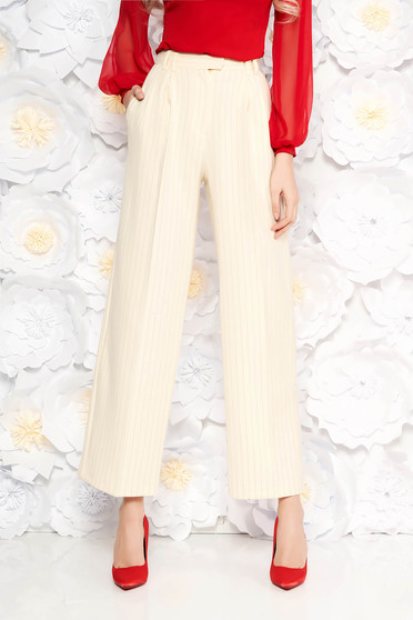 StarShinerS nude trousers with pockets office high waisted flared with vertical stripes