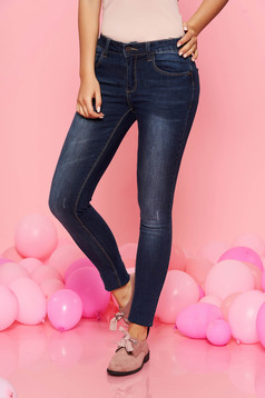Top Secret darkblue casual trousers with medium waist cotton accessorized with belt