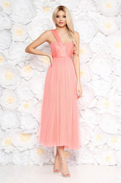 Ana Radu peach dress luxurious midi cloche from tulle with inside lining sleeveless