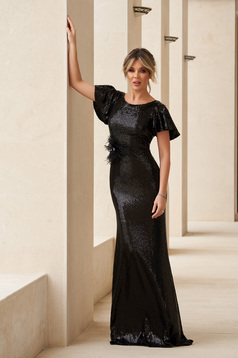 StarShinerS black occasional mermaid dress dress with tented cut with sequins