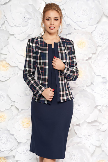 Darkblue lady set office slightly elastic fabric with straight cut short sleeves