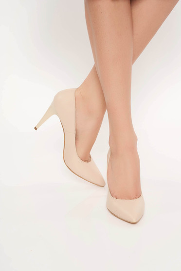 Nude office shoes natural leather stiletto slightly pointed toe tip